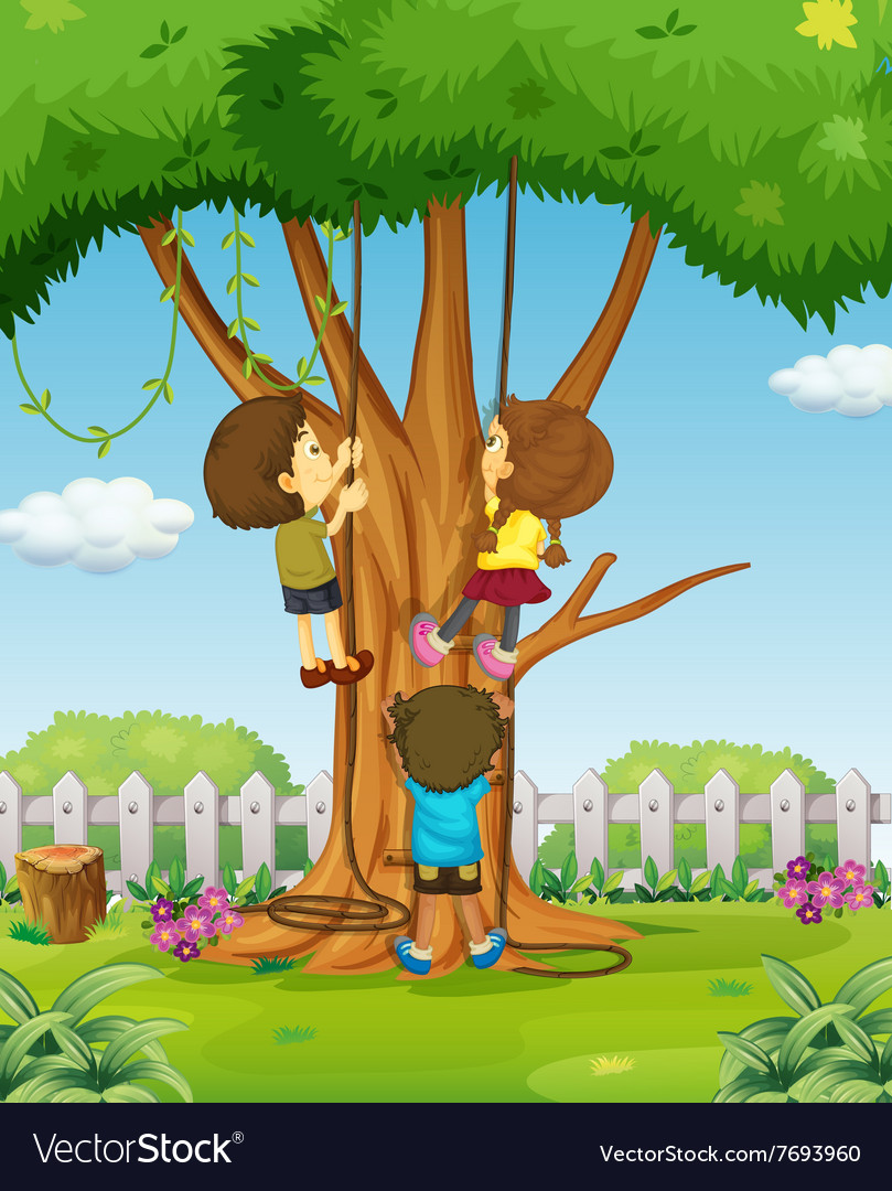 Boys and girl climbing up the tree vector image