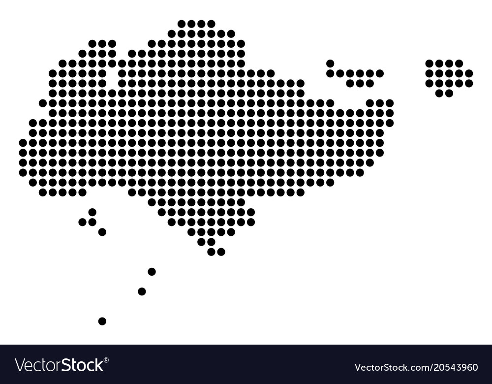 Dotted pixel singapore map
