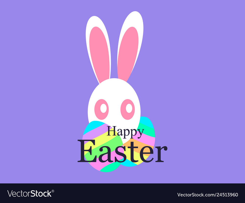 Happy easter holiday card with easter bunny and