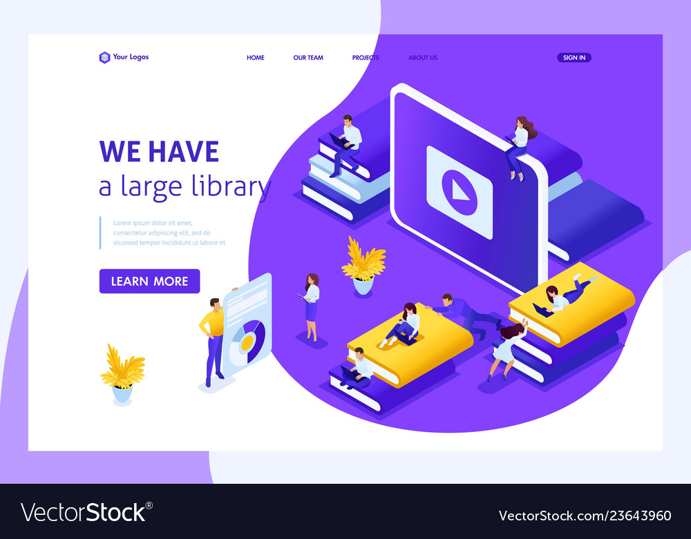 Isometric landing page for education
