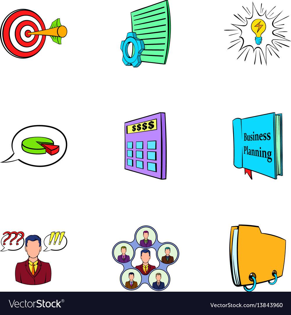 Office icons set cartoon style