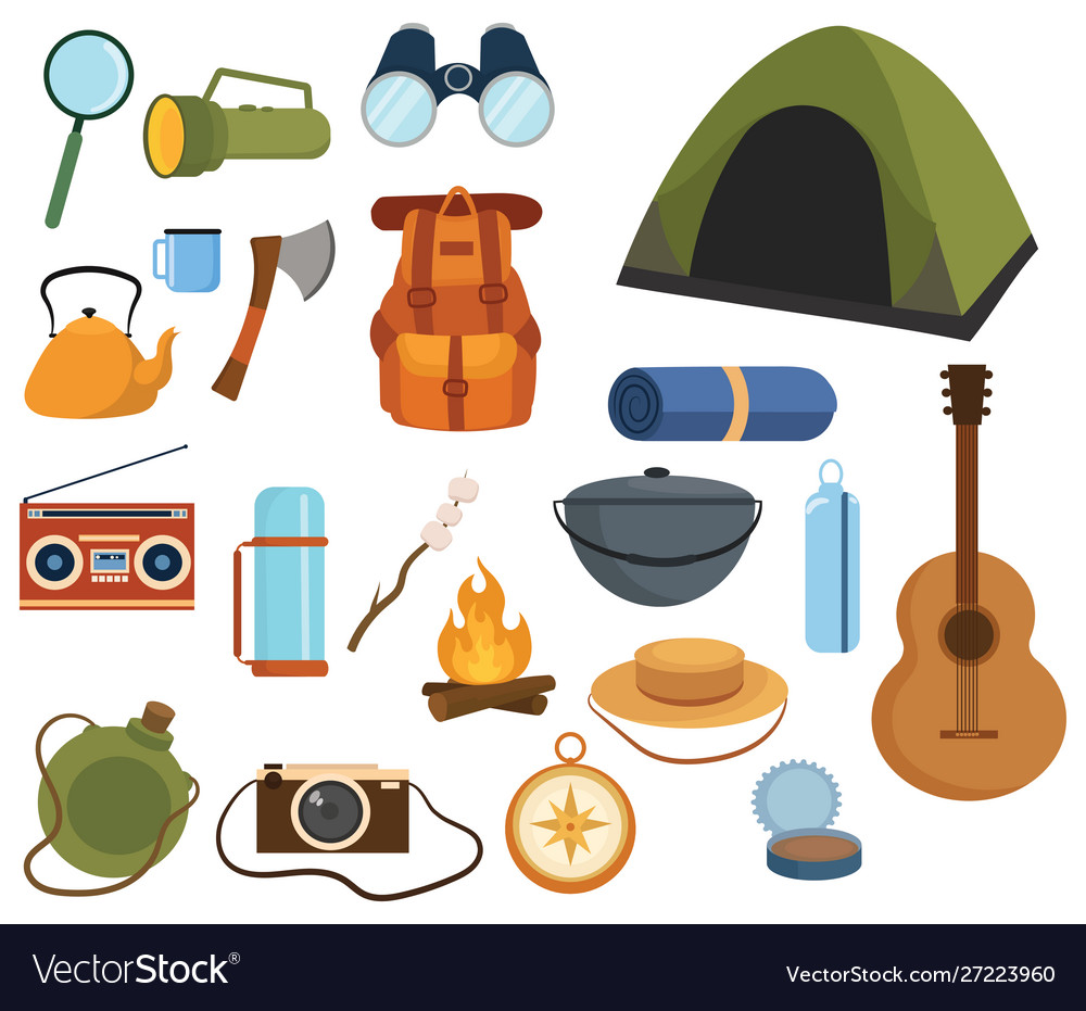 Set items for camping a collection cartoon