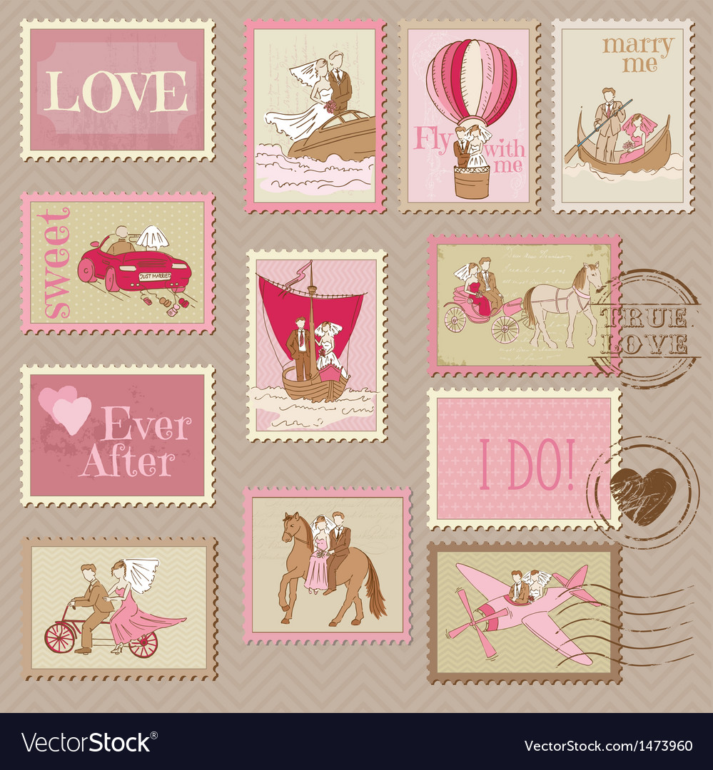 Wedding Postage Stamps Royalty Free Vector Image