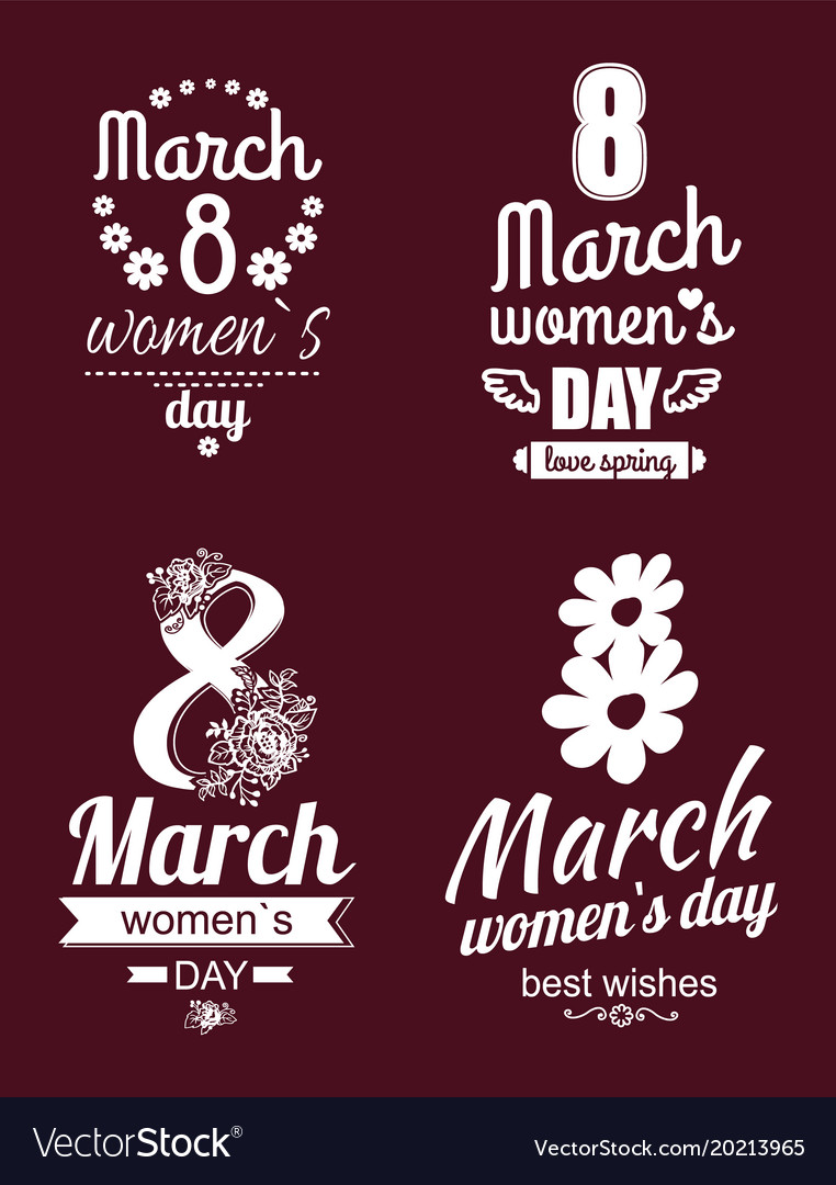 8 March Greeting Cards International Womens Day Vector Image