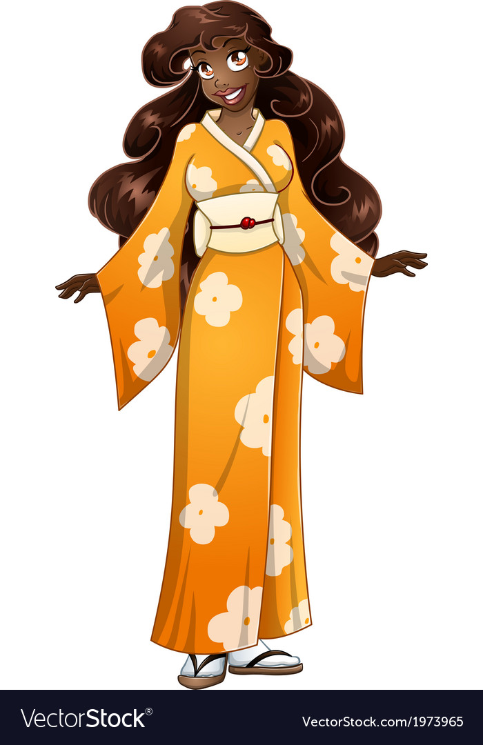 African Woman In Yellow Kimono vector image