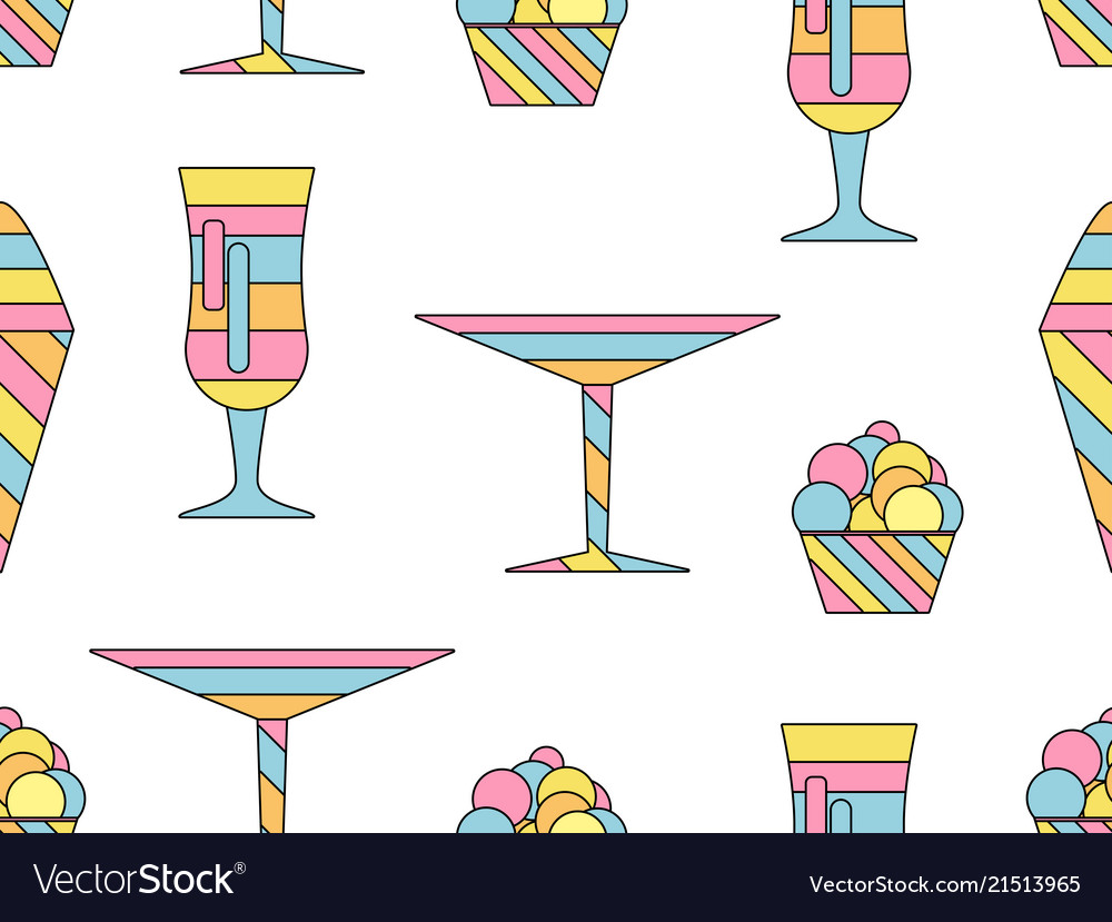 Alcohol drink and ice cream seamless pattern