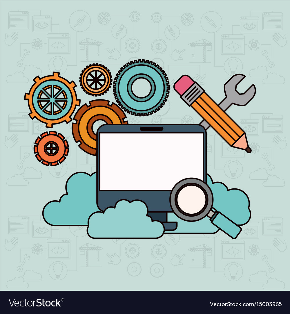 Background with desktop computer and search tools vector image