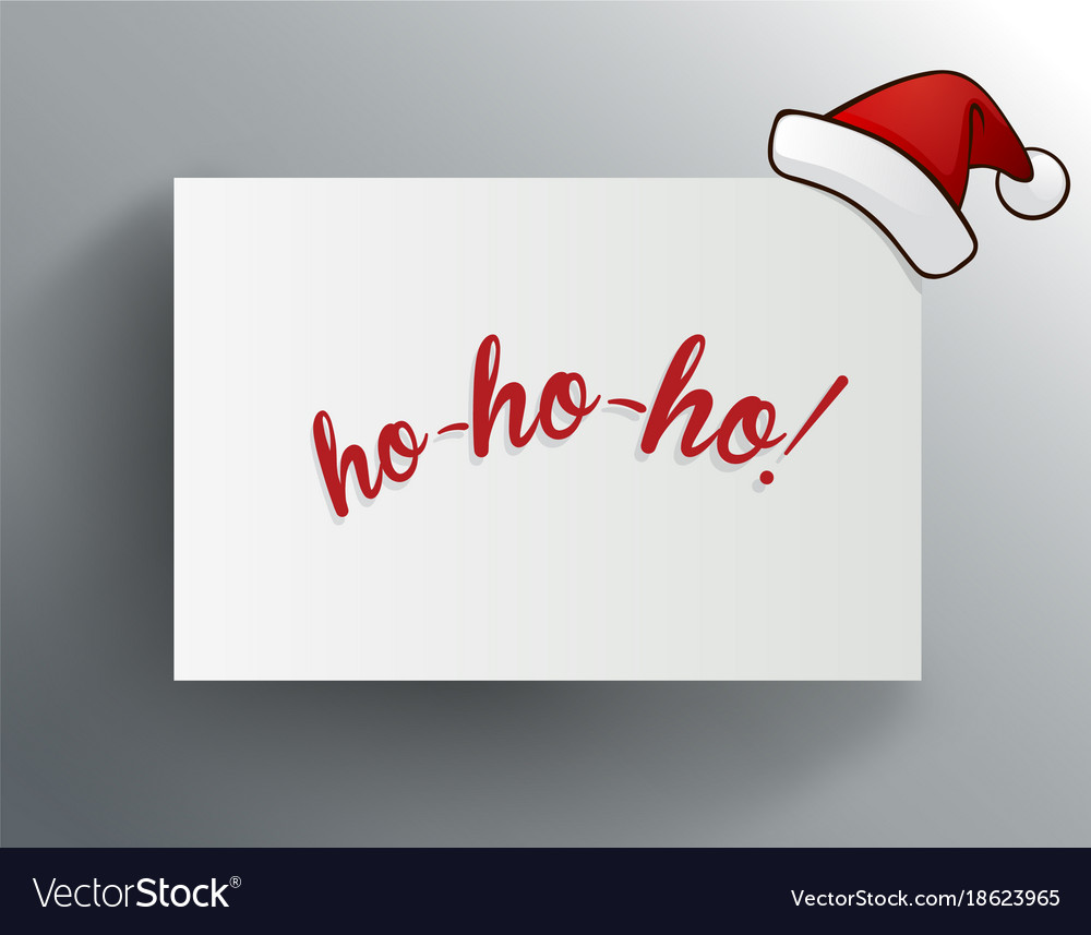 Christmas greeting card with ho-ho-ho and red Vector Image