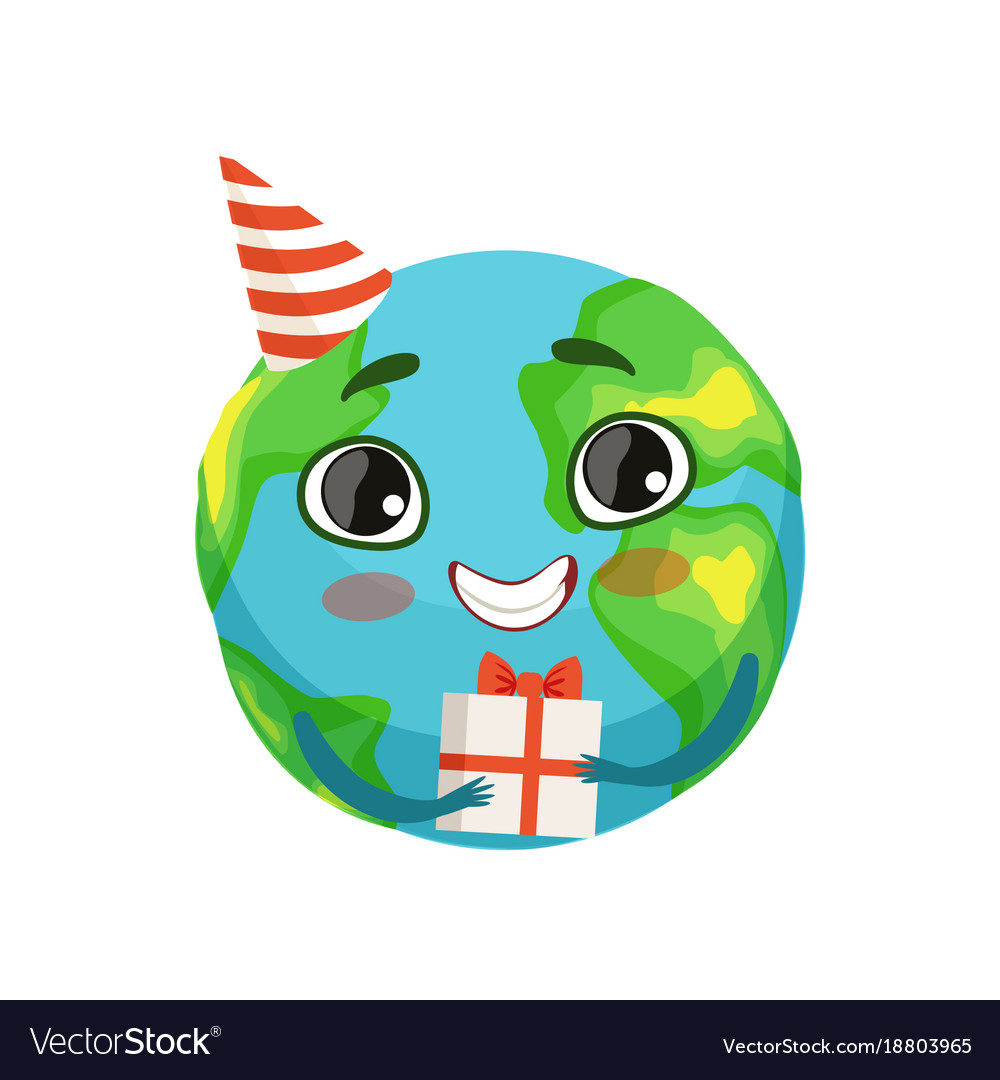 Funny earth planet character in party hat holding