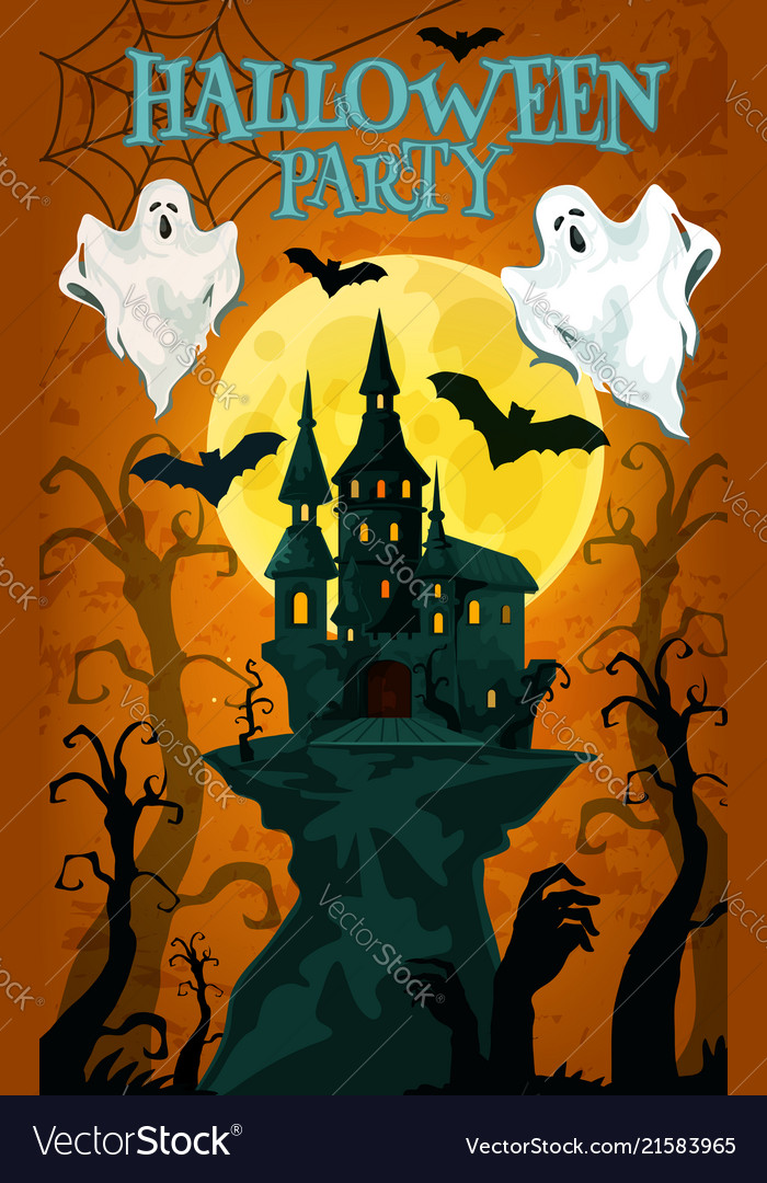 halloween party banner with horror house and ghost vector image