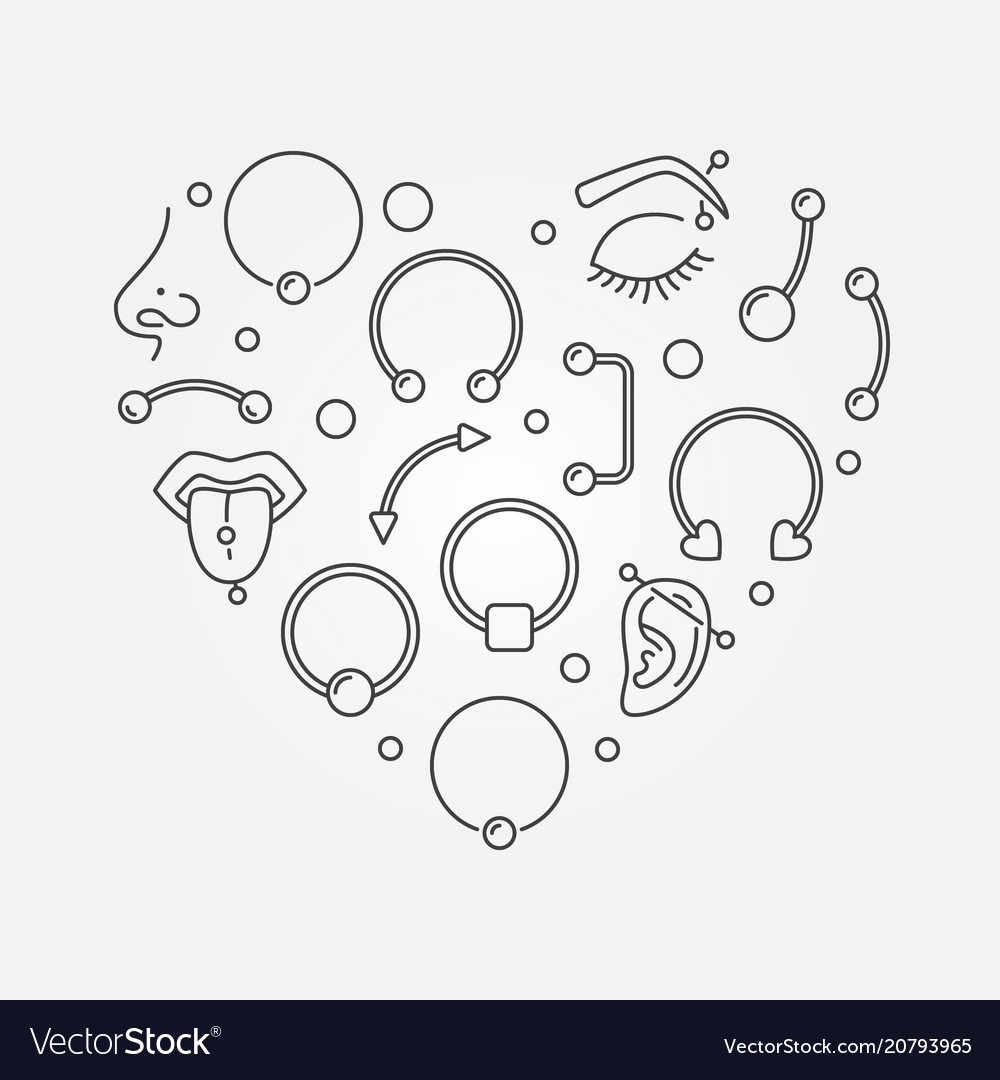 Heart shape made of body jewelry and piercing thin
