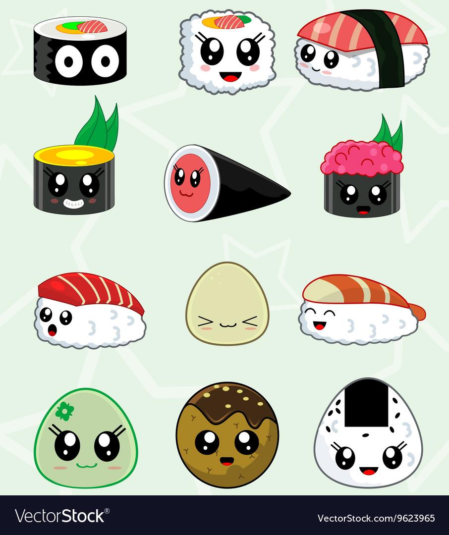 Japanese sushi food icons set