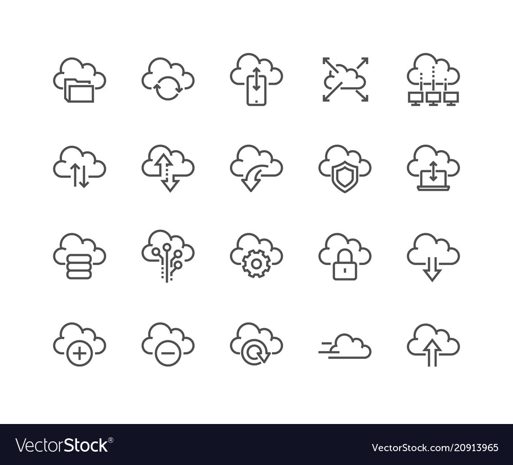 Line computer cloud icons vector image