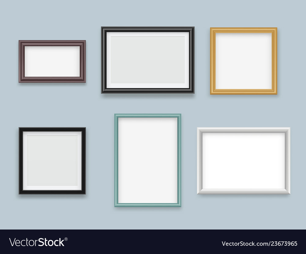 Picture frames realistic modern wood empty