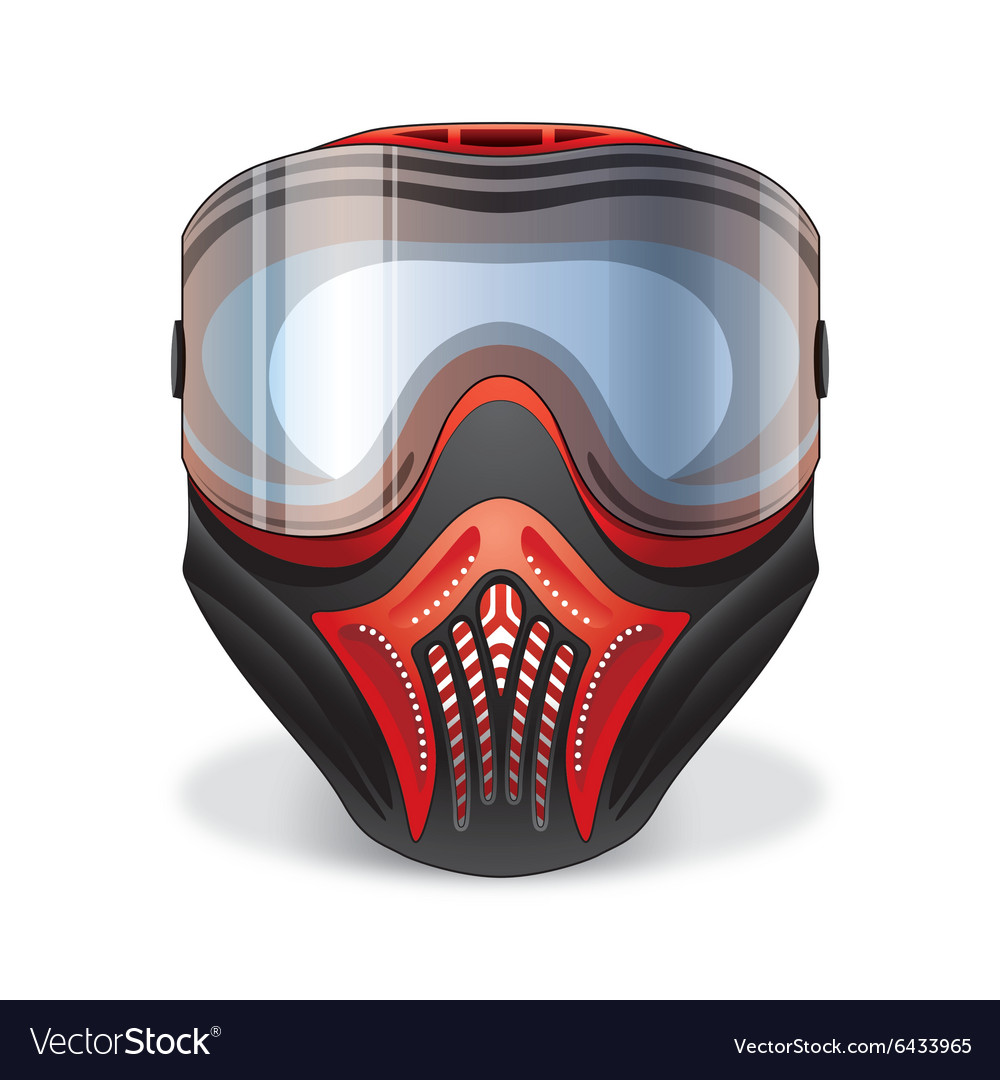 Red and black paintball mask with transparent