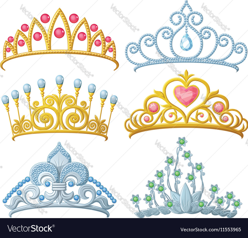 Set of princess crowns Tiara isolated on white