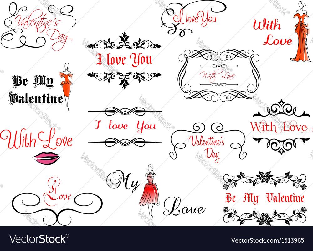 Set of Valentines headlines