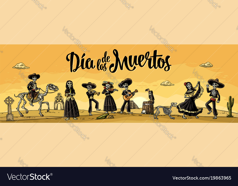 Skeleton mexican costumes dance and play the