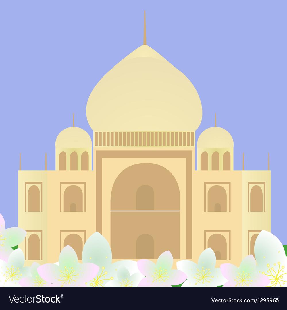 Taj Mahal with lotuses vector image