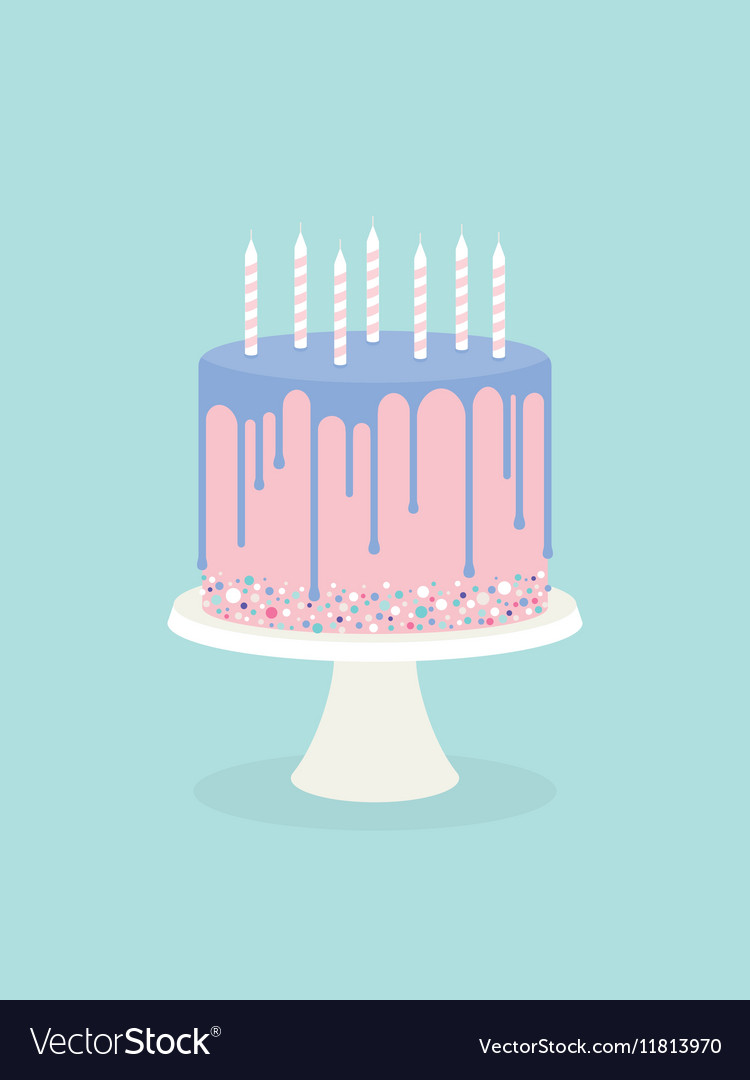 Birthday Cake With Glaze And Candles Vector Image