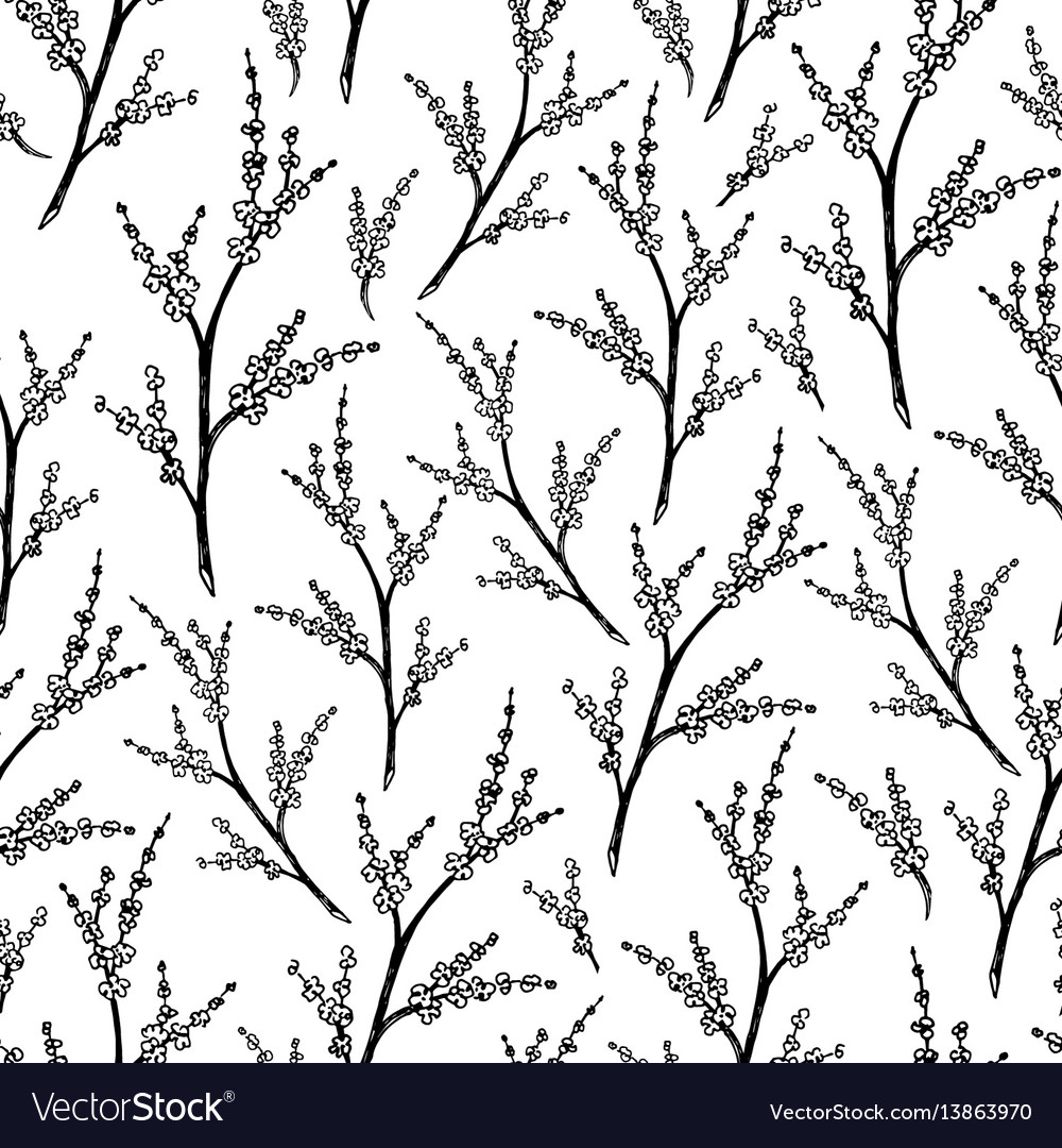 Black And White Floral Seamless Pattern Royalty Free Vector