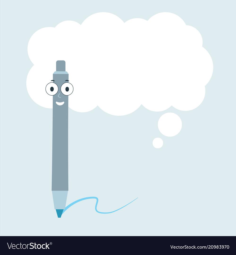Cartoon pen with speech bubble