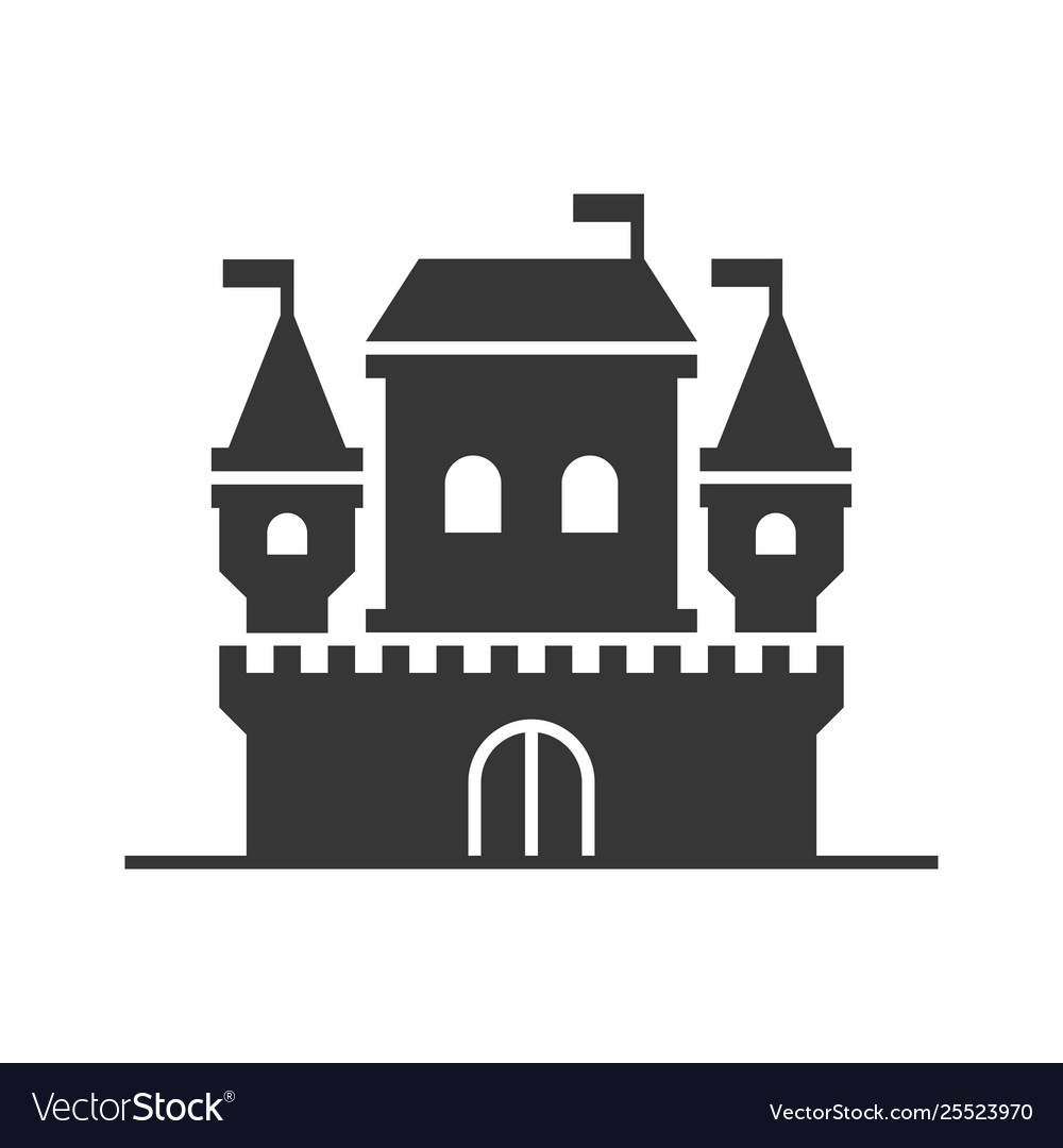 Castle tower icon on white background