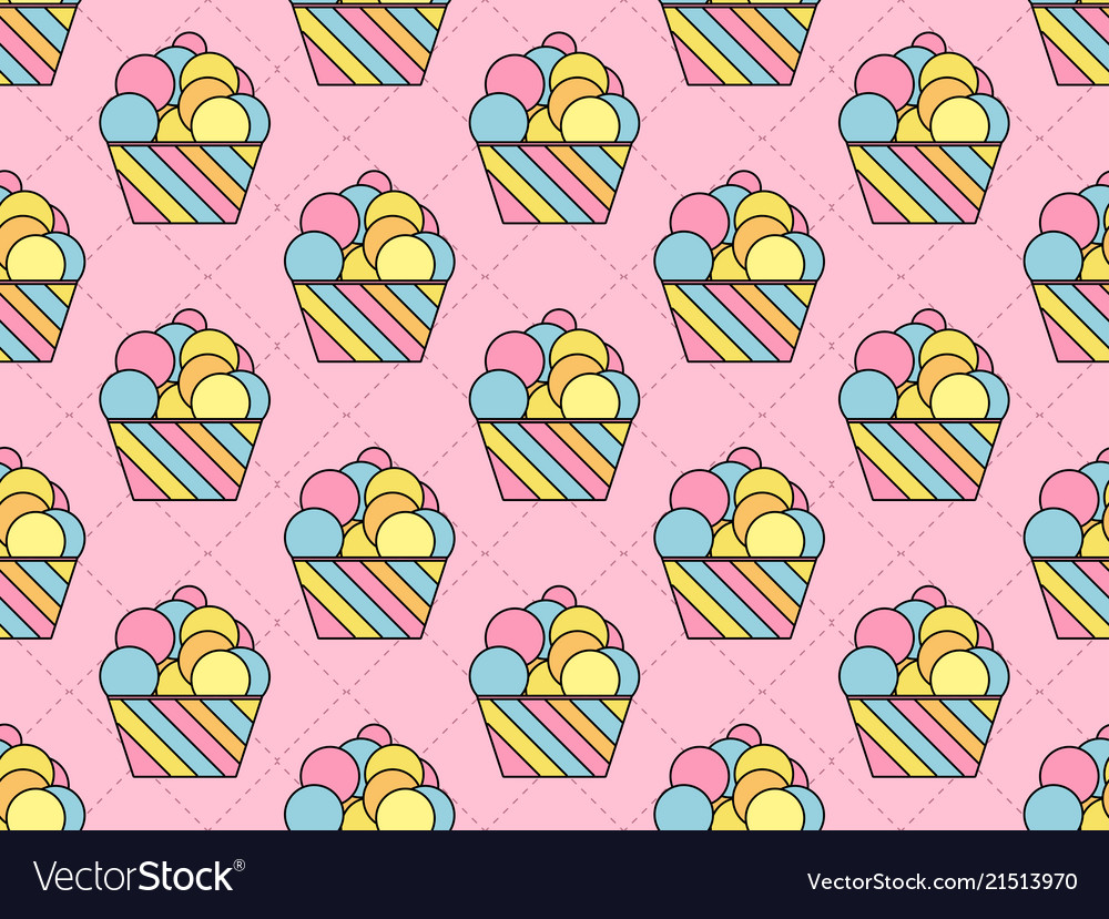 Cupcake seamless pattern colorful cake
