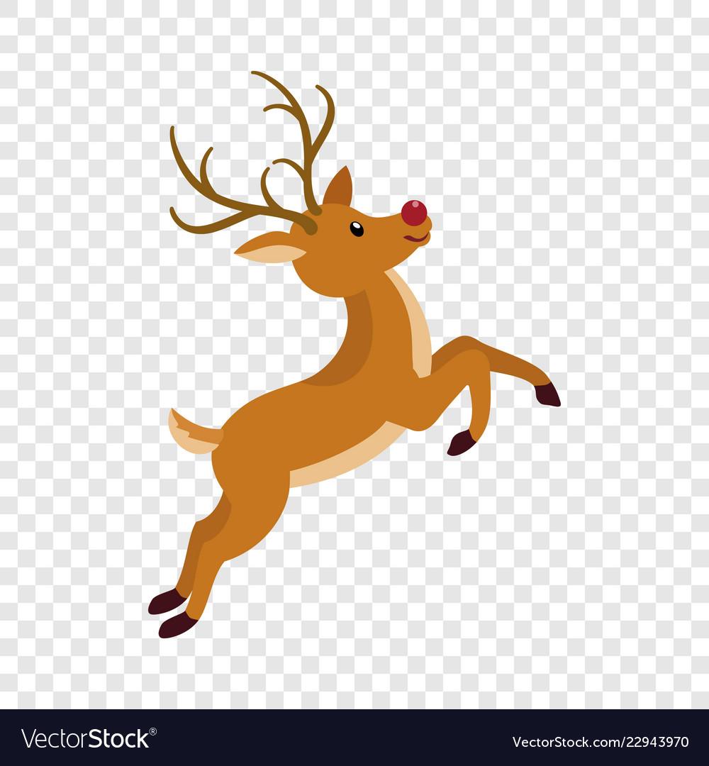 Cute xmas deer icon flat style