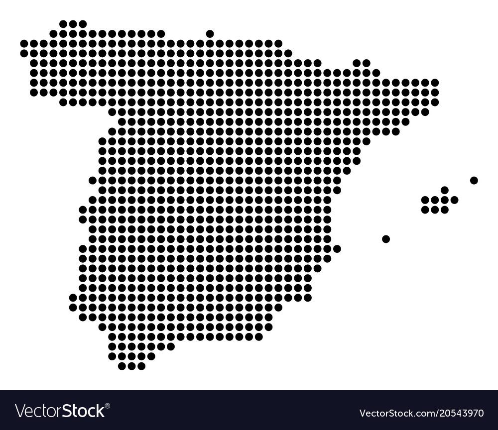 Dotted pixel spain map Royalty Free Vector Image