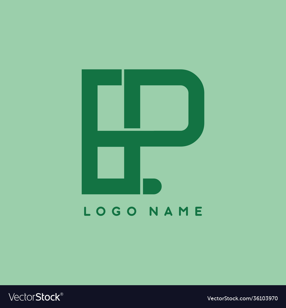 Ep initial letter in green color logo template