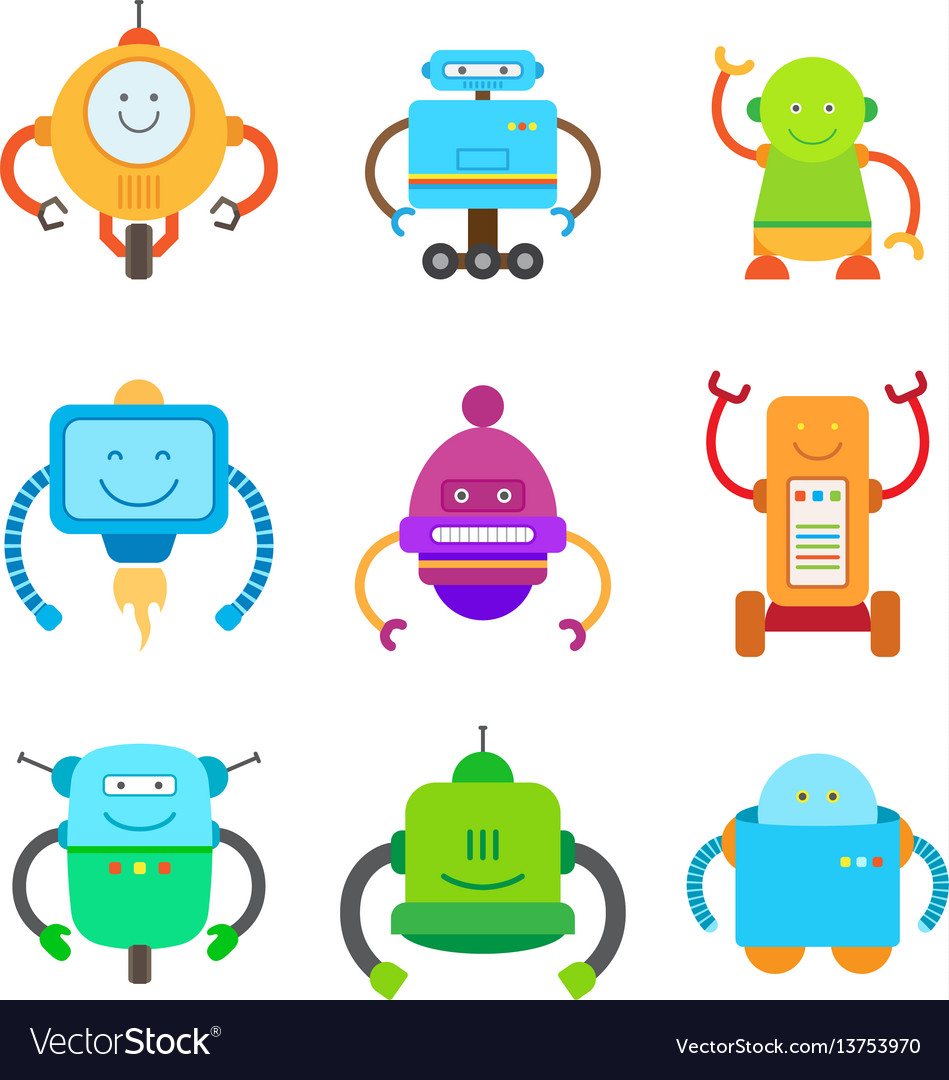 Funny colorful robots collection of