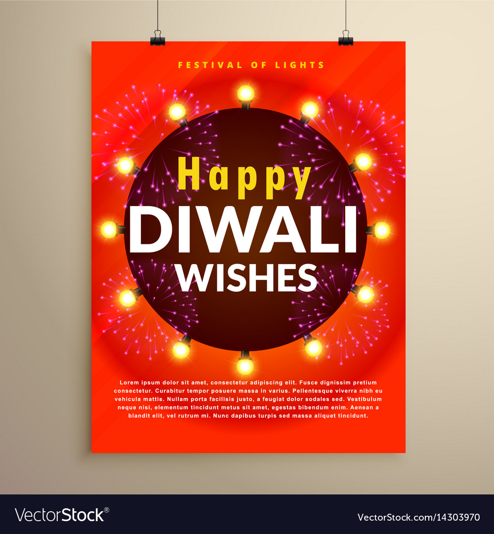Happy diwali wishes greeting flyer template design