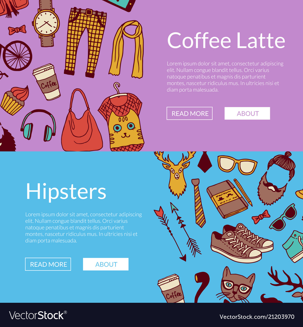 Hipster doodle icons horizontal banners