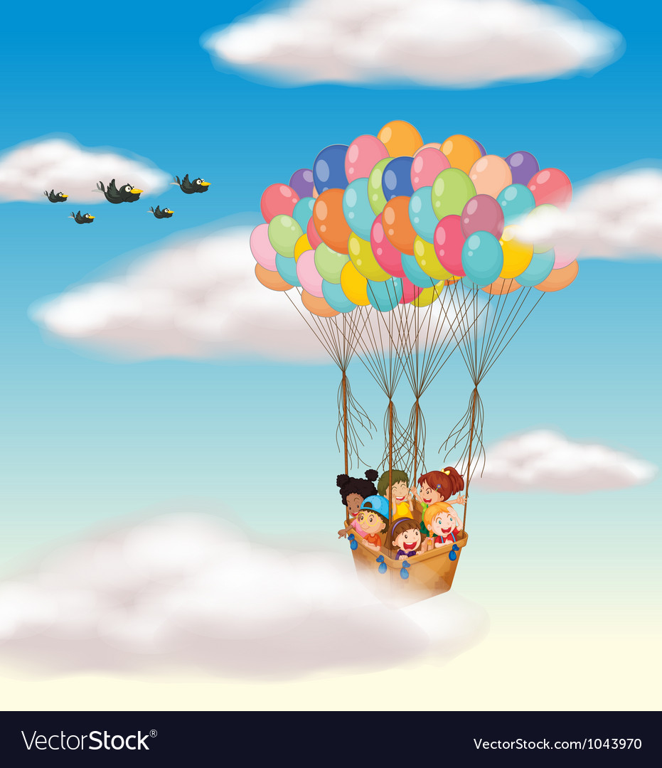 Kids flying in basket vector image