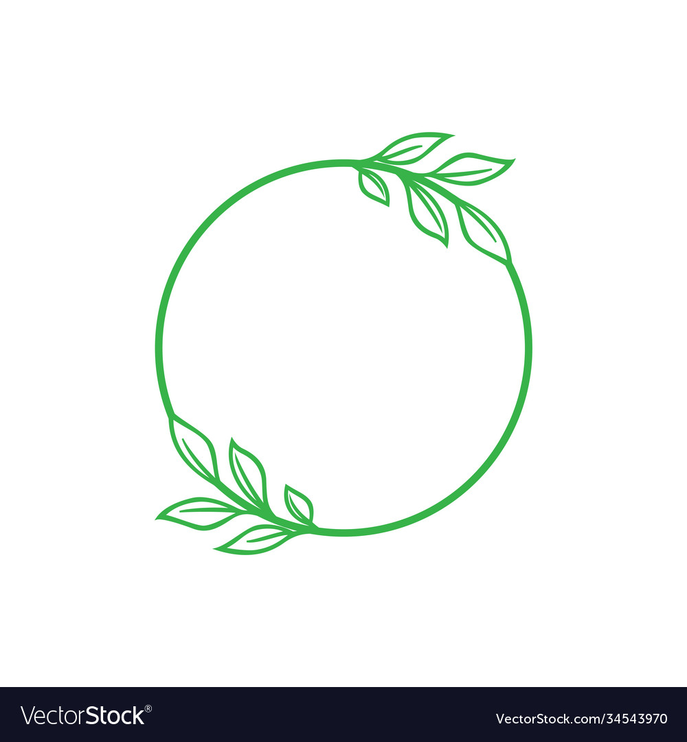 Leaf in circle icon design template