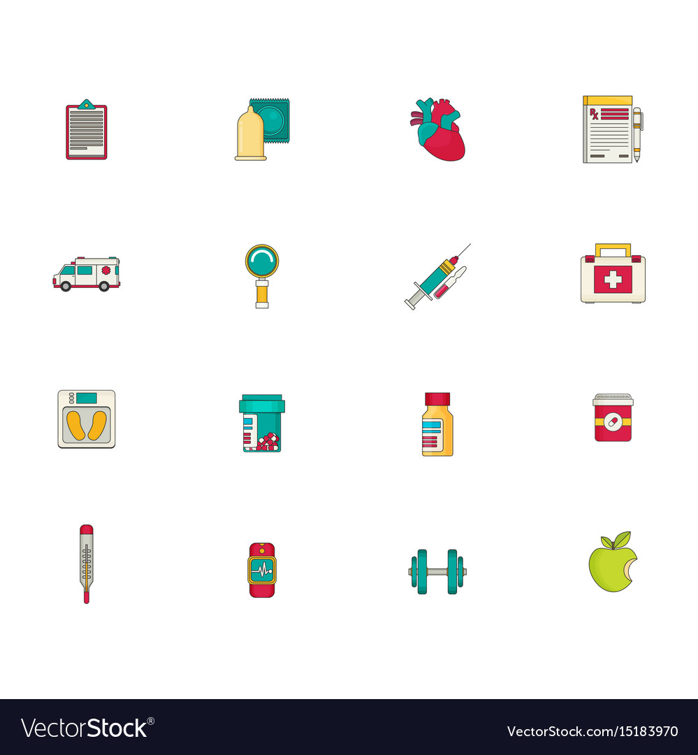 Medicine icon set flat
