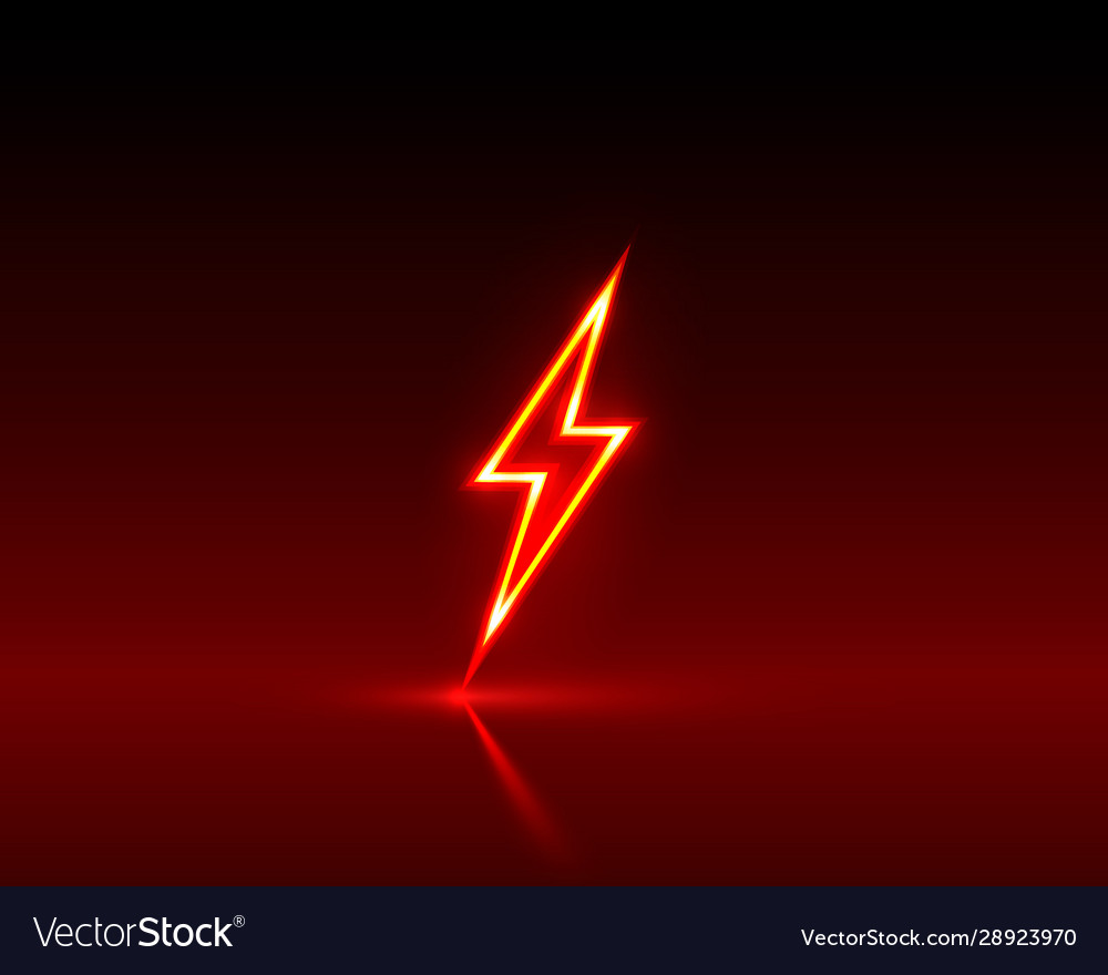 Neon Sign Lightning Signboard On Red Royalty Free Vector