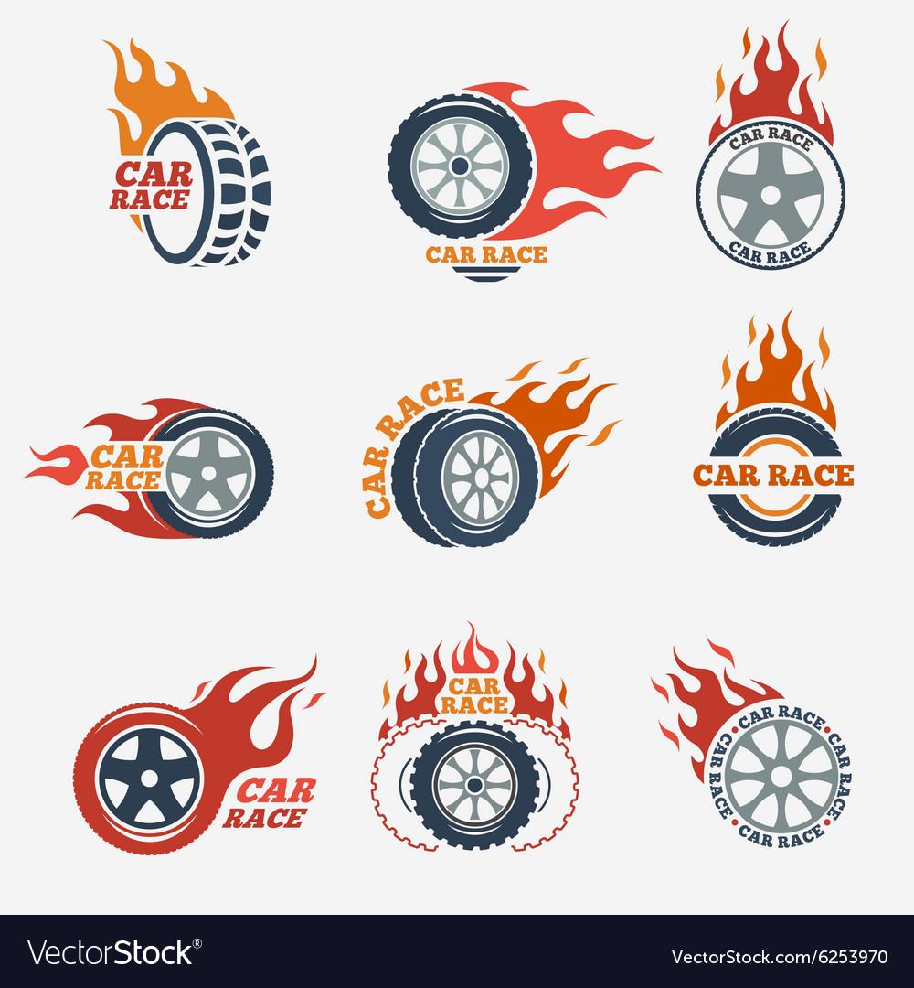 Racing flat labels vector image