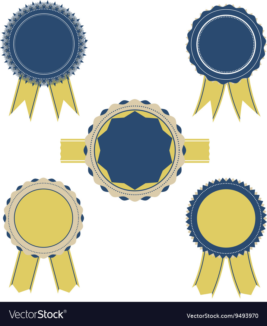 Retro blue and yellow color set of ribbon banner