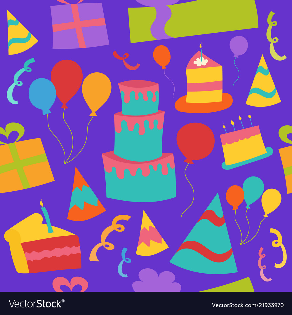 Seamless birthday party background with cake
