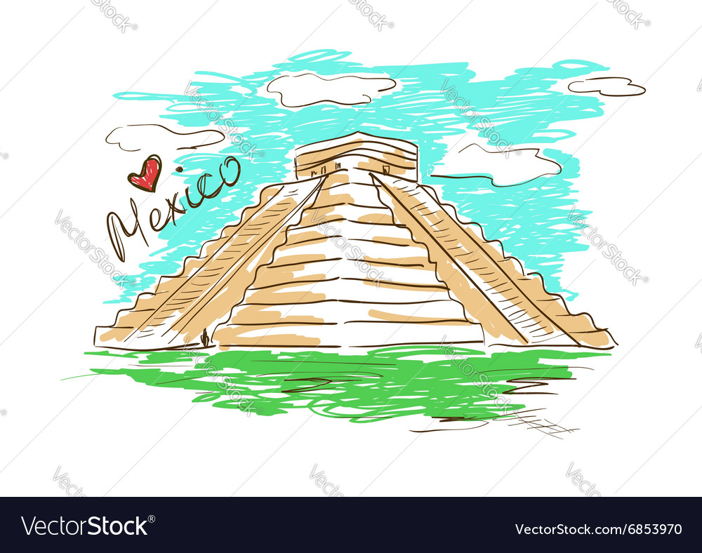 Sketch of Chichen Itza Mayan Pyramid in Mexico