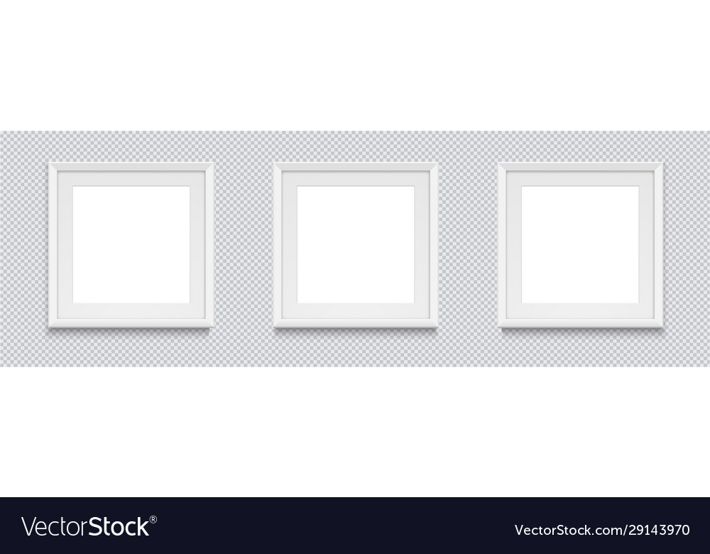 Three square realistic white photo frame isolated