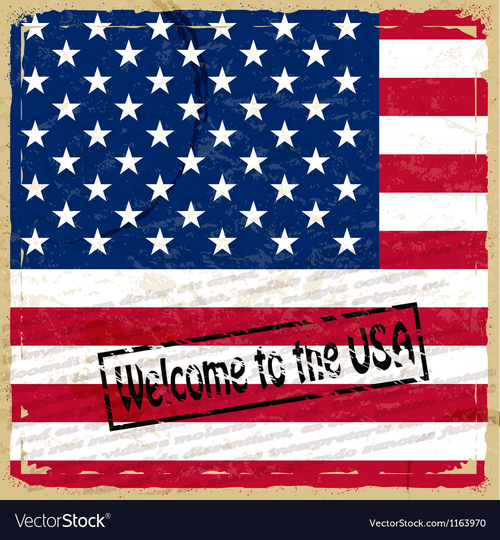 Vintage background with US flag vector image