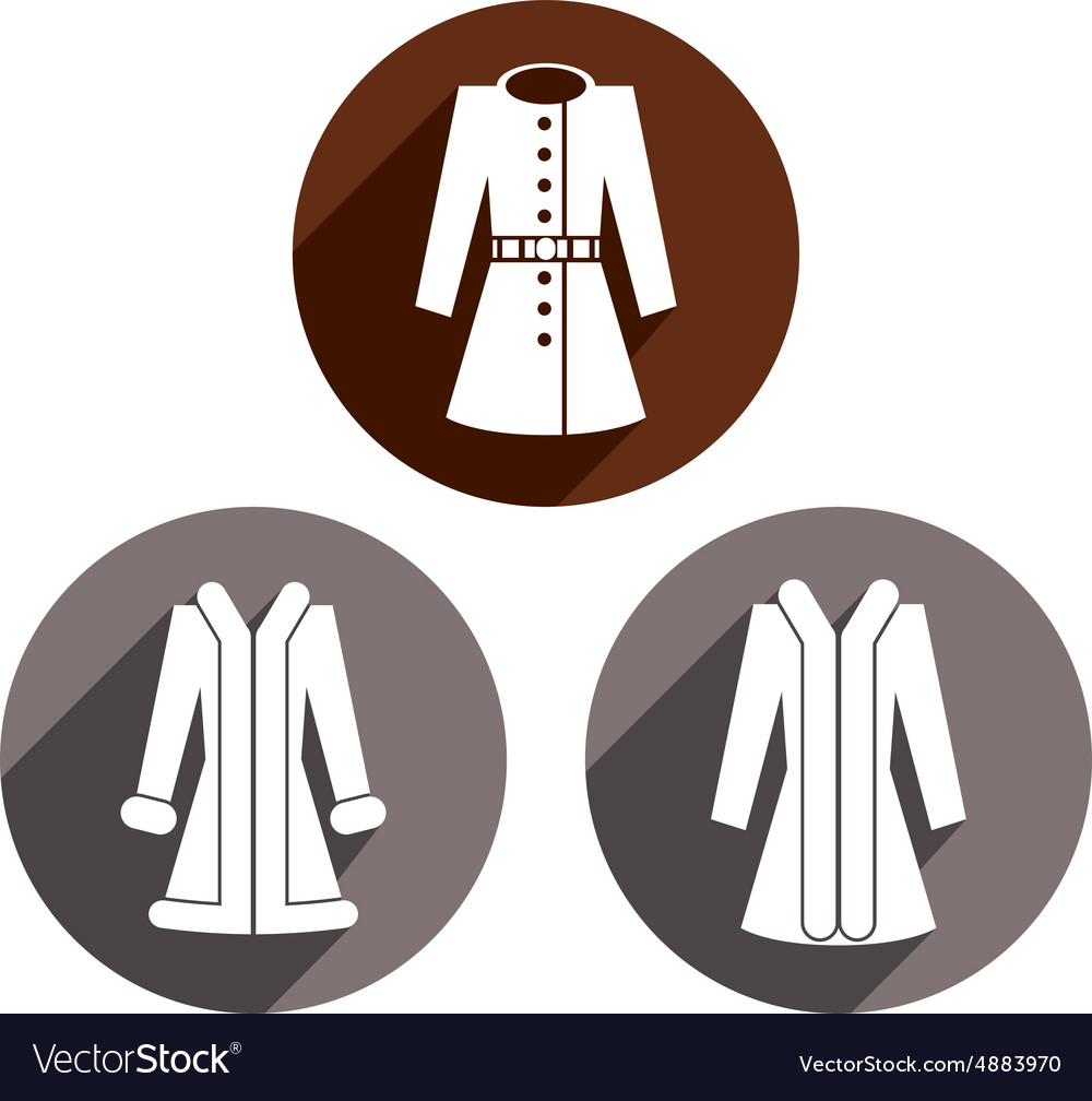 Woman coats icon set