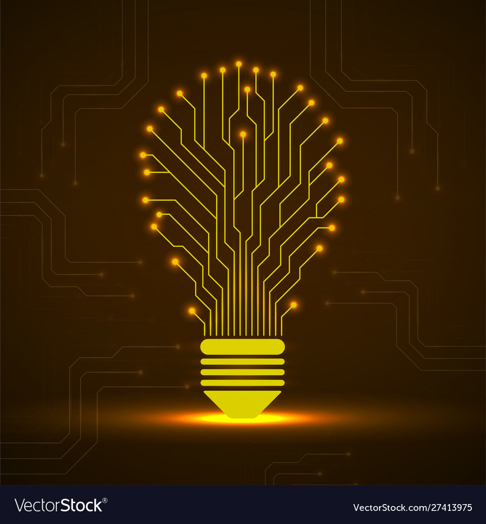 Abstract glowing lamp with circuit board