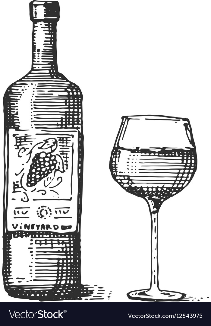 Bottles and glass of wine engraved
