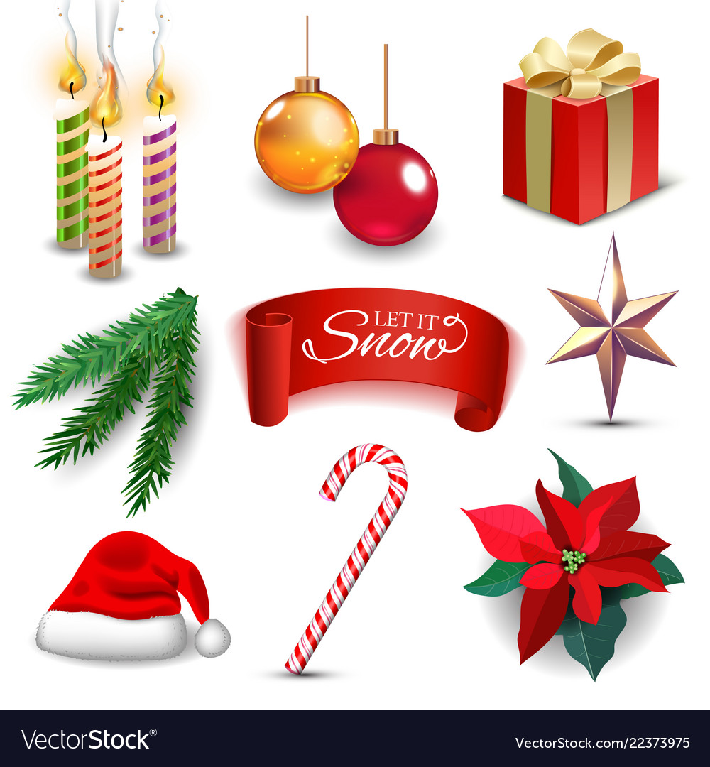 Christmas new year holiday decoration realistic Vector Image