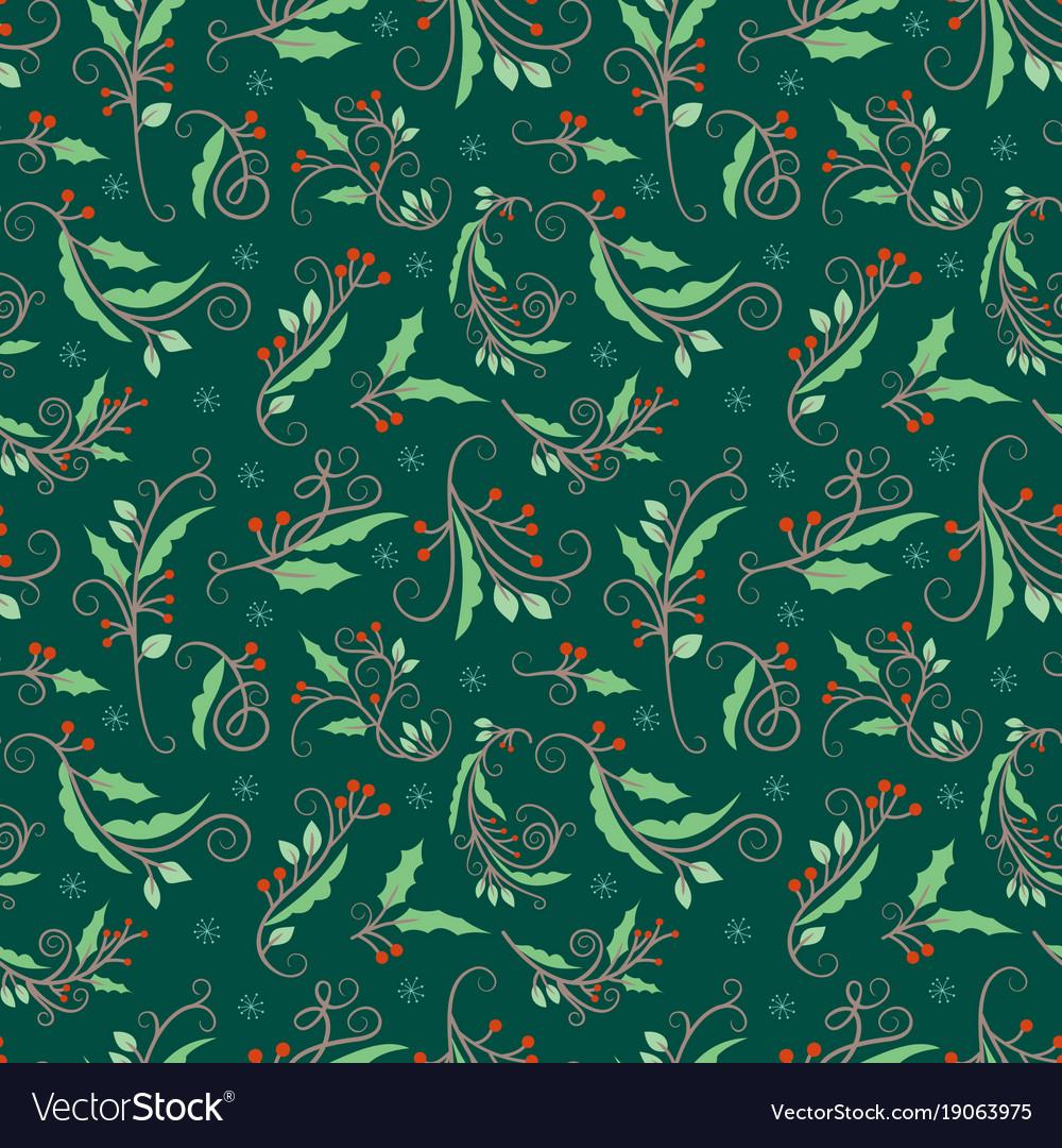 Christmas seamless pattern with mistletoe