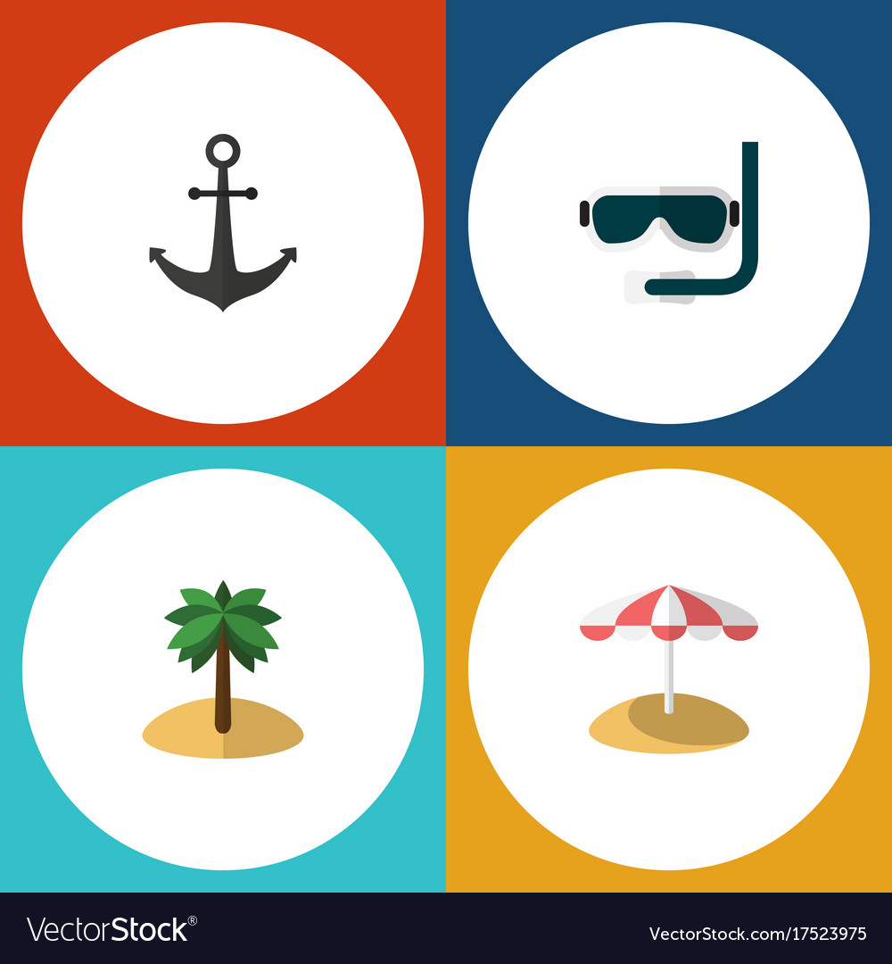 Flat icon summer set of scuba diving coconut